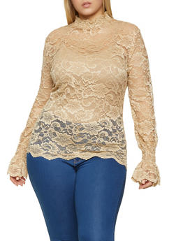 Plus Size Lace Bell Sleeve Top - 1803062126083