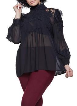 Plus Size Crochet Trim Blouse - 1803062126900