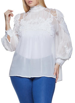 Plus Size Crochet Trim Blouse - 1803062126900
