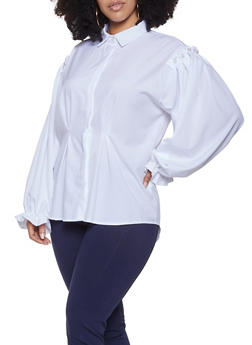 Plus Size Faux Pearl Ruffled Shirt - 1803062128168
