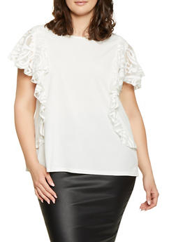 Plus Size Burnout Ruffle Overlay Top - 1803062128326