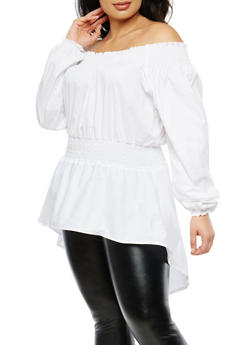 Plus Size Off the Shoulder High Low Top - 1803062128519
