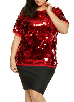 Plus Size Sequin Mesh Top - 1803062128850