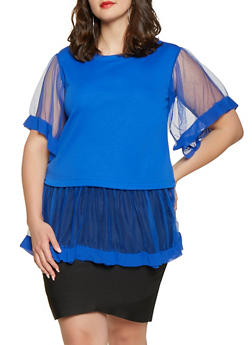 Plus Size Tulle Trim Tunic Top - 1803062129082