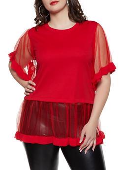 Plus Size Tulle Trim Tunic Top - 1803062129082