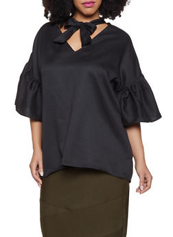 Plus Size Bell Sleeve Tie Neck Top - 1803062129476