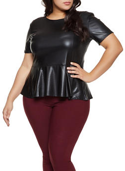 Plus Size Faux Leather Peplum Top - 1803062413833
