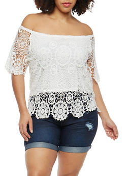 Plus Size Off the Shoulder Crochet Top - 1803062701647