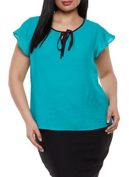 Plus Size Flutter Sleeve Tie Neck Top - 1803062702555