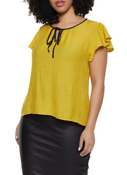 be5e6bf8974 Plus Size Flutter Sleeve Tie Neck Top - 1803062702555