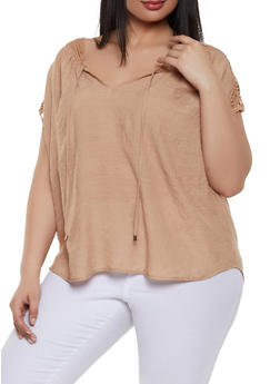 Plus Size Crochet Trim Tie Neck Top - 1803062702575