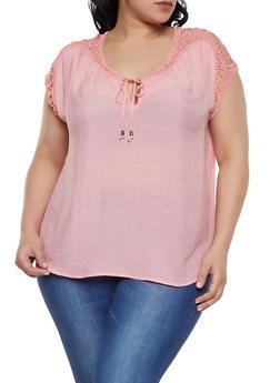 Plus Size Crochet Trim Tie Neck Top - 1803062702575