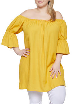 Plus Size Off the Shoulder Bell Sleeve Tunic Top - 1803062702687
