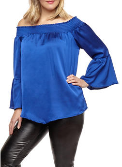 Plus Size Satin Bell Sleeve Top - 1803062705444