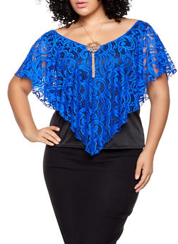 Plus Size Crochet Overlay Top with Necklace - 1803070471216
