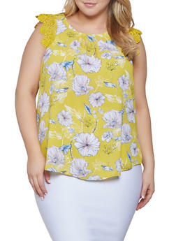 Plus Size Floral Crochet Trim Blouse - 1803072680018