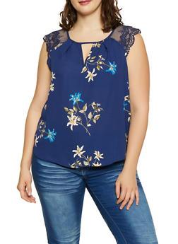 Plus Size Crochet Sleeve Floral Blouse - 1803072681118