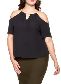 Plus Size Chain Detail Cold Shoulder Top - 1803072681163