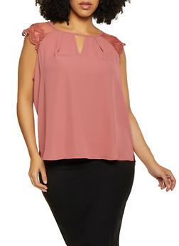 Plus Size Crochet Sleeve Blouse - 1803072681800