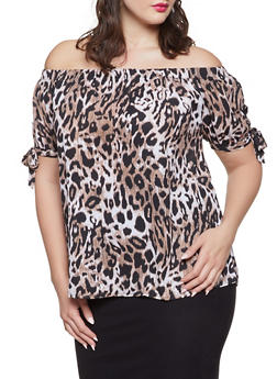 Plus Size Off the Shoulder Leopard Top - 1803072685007