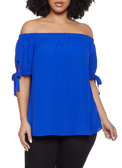 Plus Size Tie Sleeve Off the Shoulder Top - 1803072685117