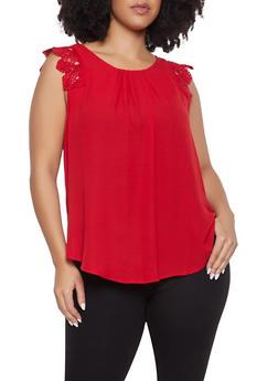 Plus Size Sleeveless Crochet Trim Top - 1803072685118