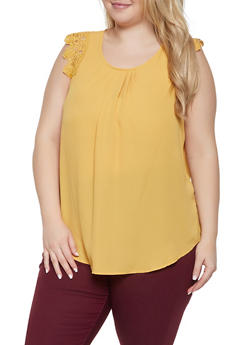 Plus Size Sleeveless Crochet Trim Top - 1803072685118