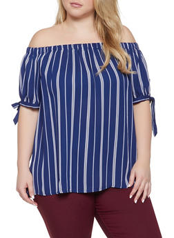 Plus Size Off the Shoulder Striped Tie Sleeve Top - 1803072685122
