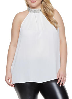 Plus Size Rhinestone Trim Blouse - 1803072685177