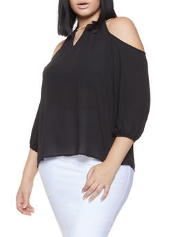 Plus Size Chain Detail Cold Shoulder Top - 1803072685180