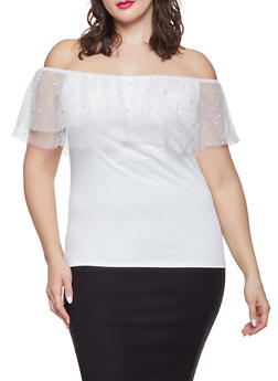 Plus Size Faux Pearl Studded Off the Shoulder Top - 1803072685181