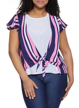 Plus Size Striped Overlay Blouse - 1803072685187