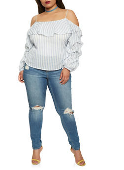 Plus Size Off the Shoulder Bubble Sleeve Top - 1803074010029