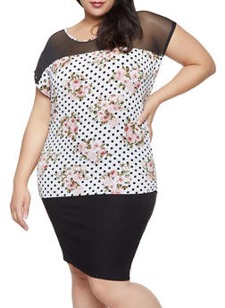 Plus Size Mesh Yoke Printed Top - 1803074010095