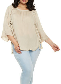 Plus Size Lace Up Detail Peasant Top - 1803074010296