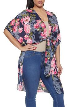 Plus Size Floral Tie Front Kimono - 1803074010545
