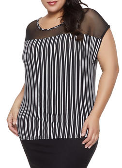 Plus Size Mesh Yoke Striped Top - 1803074010596