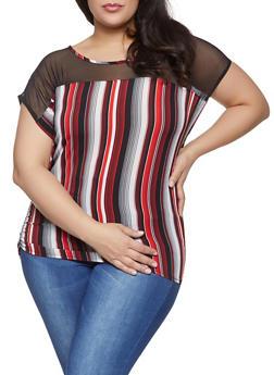 Plus Size Mesh Yoke Striped Top - 1803074010596