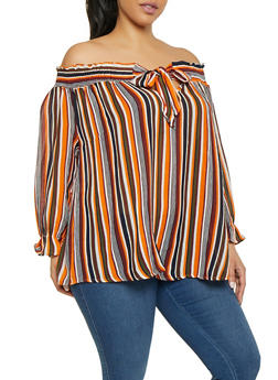 c38125023a0482 Plus Size Striped Off the Shoulder Smocked Neck Top - 1803074012512