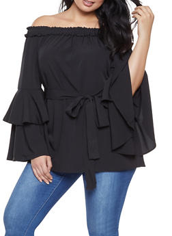 Plus Size Off the Shoulder Tiered Sleeve Top - 1803074012544