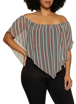 cf12589d70cfb Plus Size Striped Overlay Off the Shoulder Top - 1803074012551