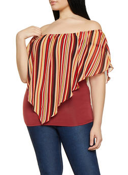 Plus Size Striped Overlay Off the Shoulder Top - 1803074012551