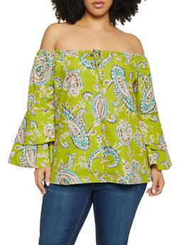 Plus Size Paisley Tiered Sleeve Off the Shoulder Top - Multi - Size 1X - 1803074012554