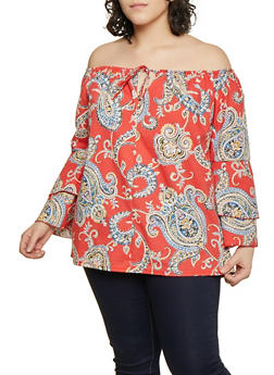 Plus Size Paisley Tiered Sleeve Off the Shoulder Top - 1803074012554