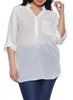 67d39c60eac Plus Size Sheer Half Button Blouse - 1803074012559