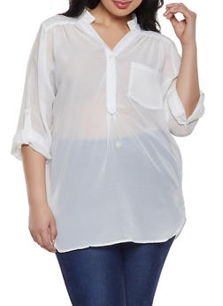 9a85a6a87b2 Plus Size Sheer Half Button Blouse - 1803074012559