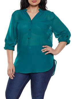 Plus Size Sheer Half Button Blouse - 1803074012559