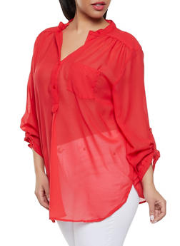 Plus Size Sheer Half Button Blouse - Red - Size 1X - 1803074012559