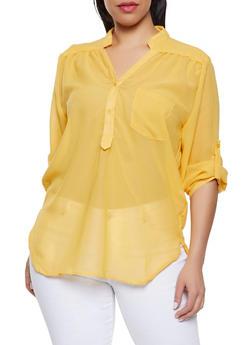 Plus Size Sheer Half Button Blouse - 1803074012559