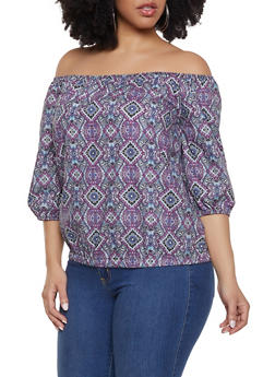 Plus Size Paisley Off the Shoulder Poplin Top - Multi - Size 1X - 1803074015055